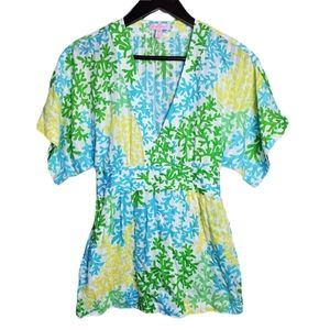 Lilly Pulitzer Green Blue Yellow Belted Tunic Top